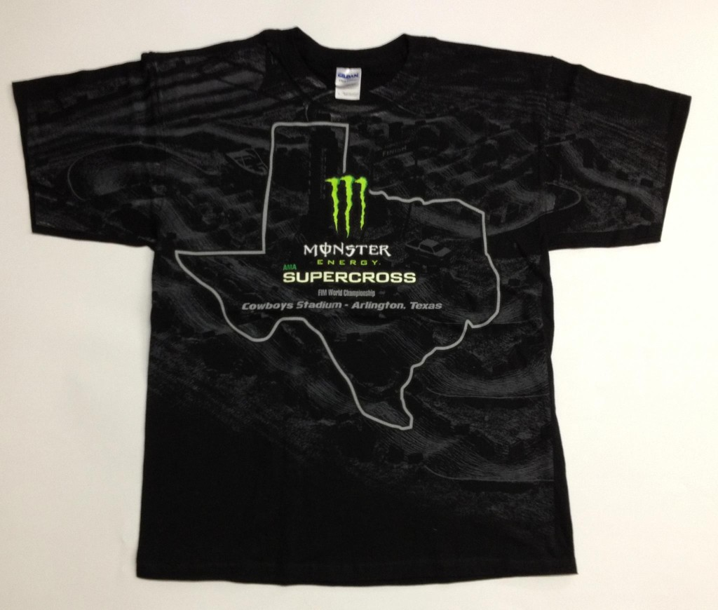 Shirt designed and printed for Monster Energy Supercross in 2012